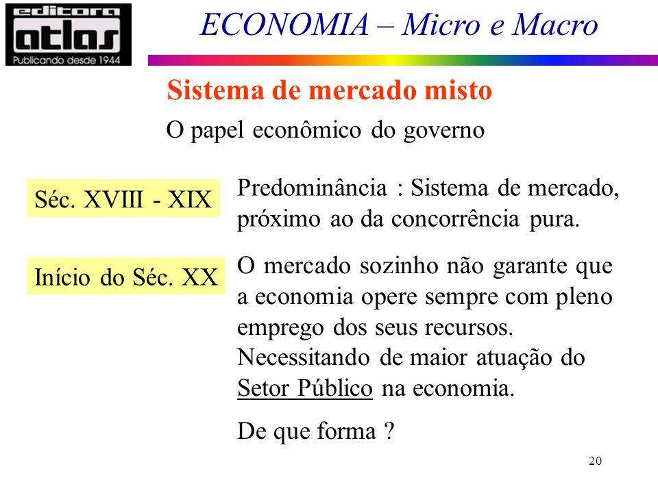 ECONOMIA – Micro e Macro 20 Sistema de mercado misto O papel econômico do governo Séc. XVIII - XIX Predominância : Sistema de mercado, próximo ao da c