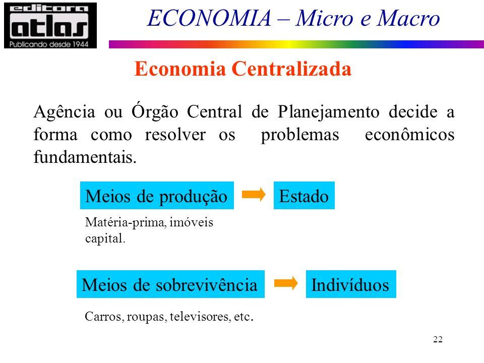 ECONOMIA – Micro e Macro 22 Economia Centralizada Agência ou Órgão Central de Planejamento decide a forma como resolver os problemas econômicos fundam
