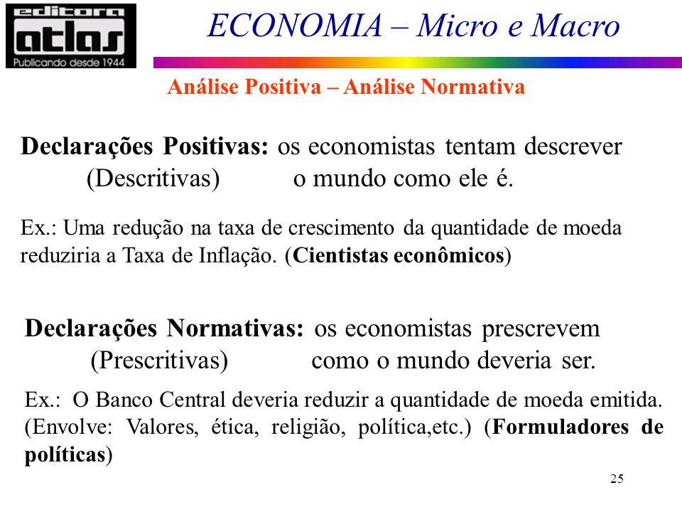 ECONOMIA – Micro e Macro 25 Análise Positiva – Análise Normativa Declarações Positivas: os economistas tentam descrever (Descritivas) o mundo como ele
