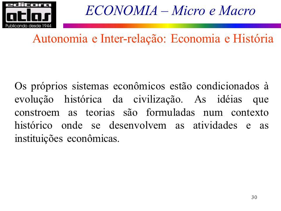 ECONOMIA – Micro e Macro 30 Os próprios sistemas econômicos estão condicionados à evolução histórica da civilização. As idéias que constroem as teoria