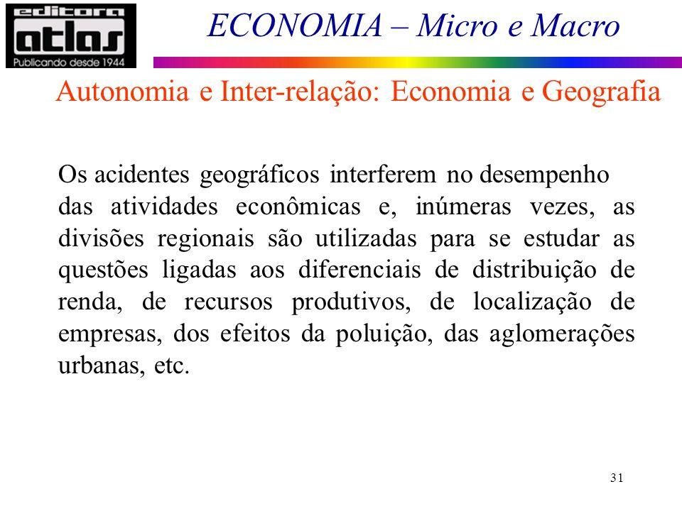 ECONOMIA – Micro e Macro 31 Os acidentes geográficos interferem no desempenho das atividades econômicas e, inúmeras vezes, as divisões regionais são u