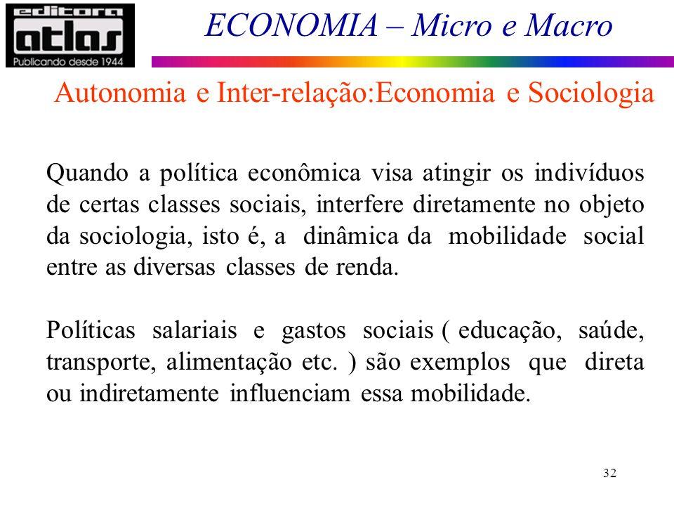 ECONOMIA – Micro e Macro 32 Quando a política econômica visa atingir os indivíduos de certas classes sociais, interfere diretamente no objeto da socio