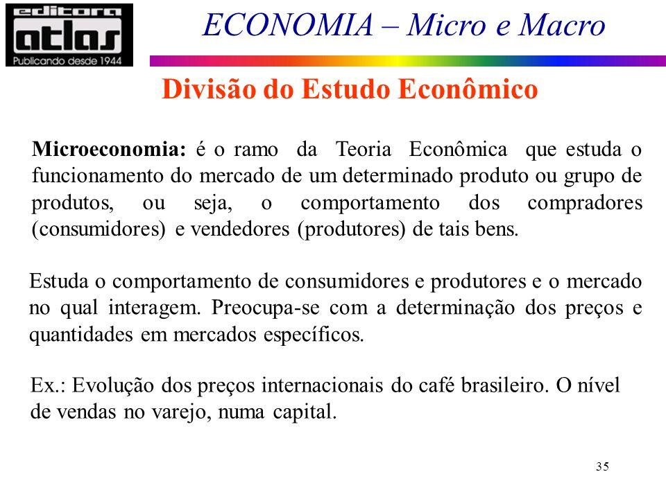 ECONOMIA – Micro e Macro 35 Divisão do Estudo Econômico Microeconomia: é o ramo da Teoria Econômica que estuda o funcionamento do mercado de um determ