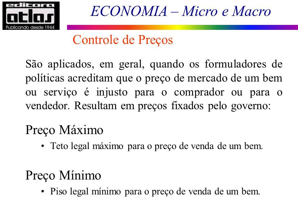 ECONOMIA – Micro e Macro Controle de Preços São aplicados, em geral, quando os formuladores de políticas acreditam que o preço de mercado de um bem ou