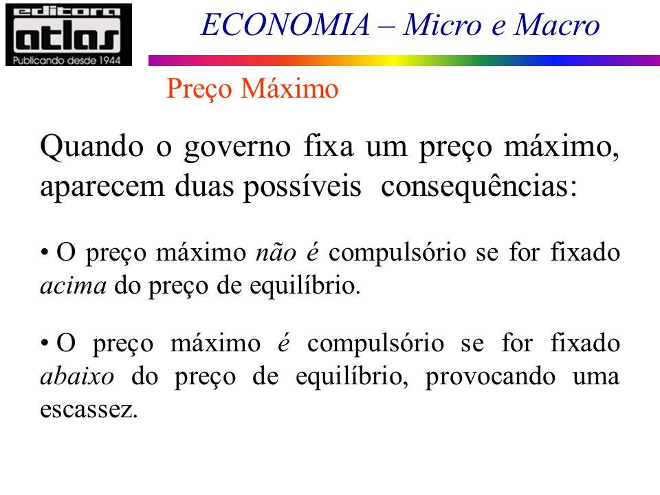 ECONOMIA – Micro e Macro Preço Máximo Quando o governo fixa um preço máximo, aparecem duas possíveis consequências: O preço máximo não é compulsório s