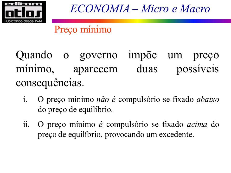 ECONOMIA – Micro e Macro Quando o governo impõe um preço mínimo, aparecem duas possíveis consequências. i.O preço mínimo não é compulsório se fixado a