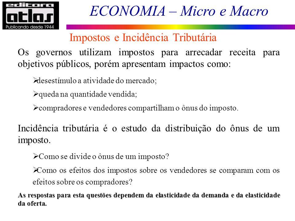 ECONOMIA – Micro e Macro Os governos utilizam impostos para arrecadar receita para objetivos públicos, porém apresentam impactos como: desestímulo a a