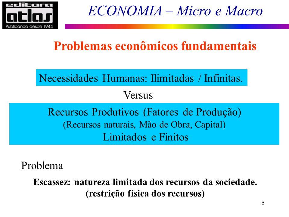 ECONOMIA – Micro e Macro 27 Dificuldade de separar os fatores essencialmente econômicos dos extra-econômicos.