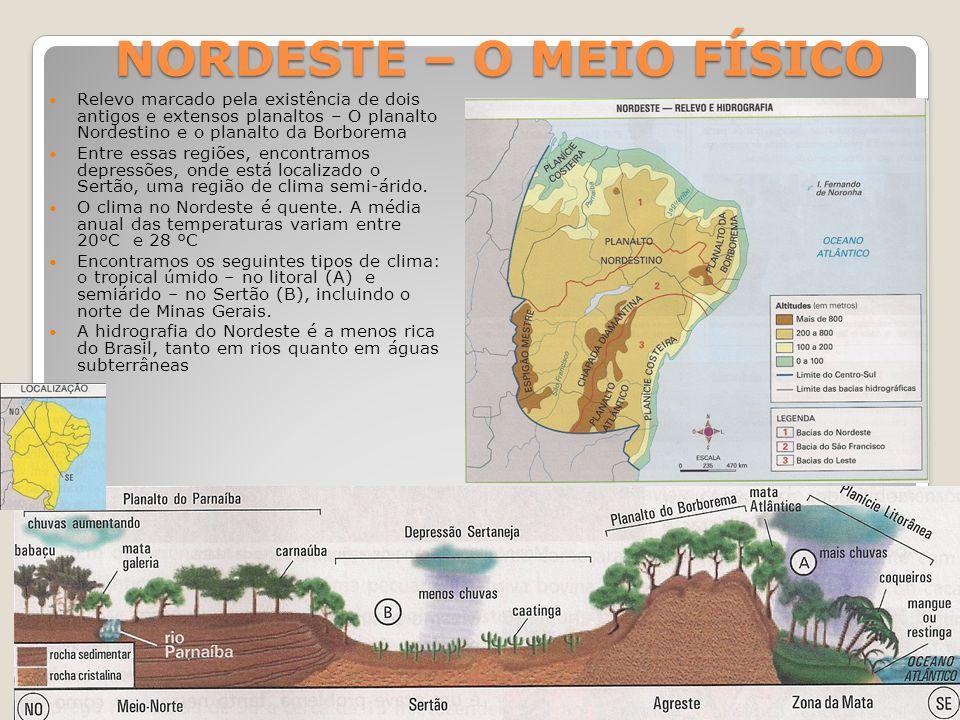 NORDESTE – O MEIO FÍSICO Relevo marcado pela existência de dois antigos e extensos planaltos – O planalto Nordestino e o planalto da Borborema Entre e