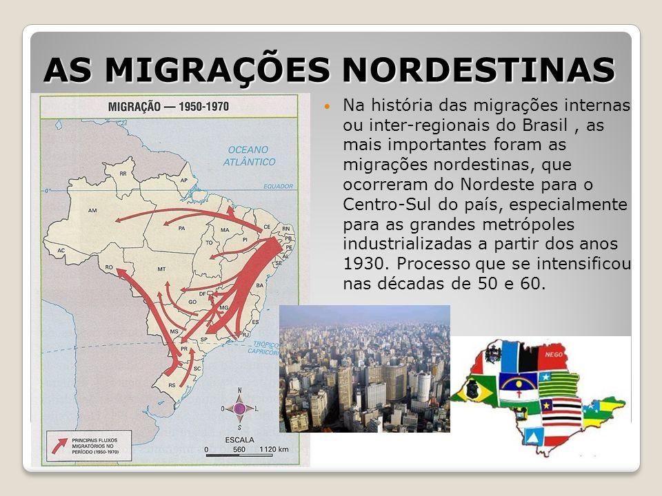AS MIGRAÇÕES NORDESTINAS Na história das migrações internas ou inter-regionais do Brasil, as mais importantes foram as migrações nordestinas, que ocor