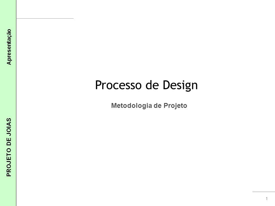 1 PROJETO DE JOIAS Apresentação Processo de Design Metodologia de Projeto