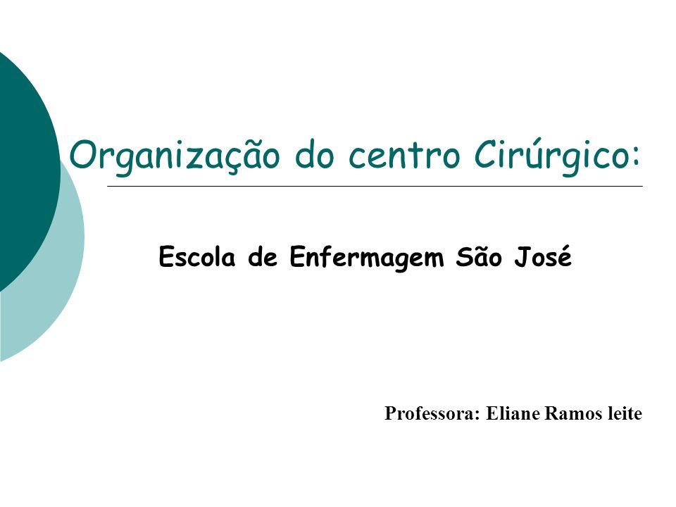 Organização do centro Cirúrgico: Professora: Eliane Ramos leite Escola de Enfermagem São José