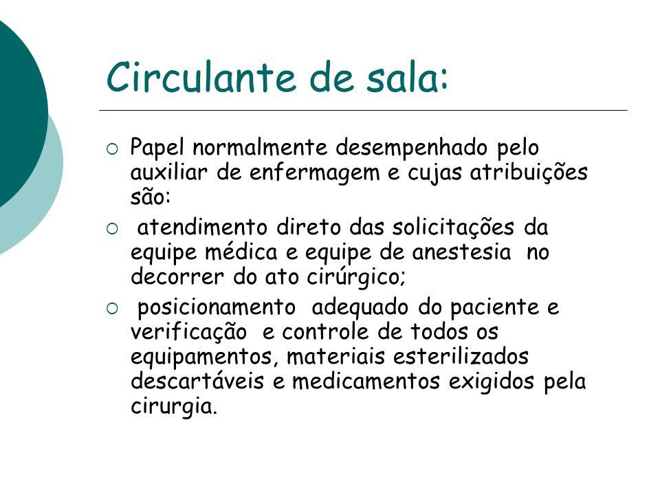 Circulante de sala: Papel normalmente desempenhado pelo auxiliar de enfermagem e cujas atribuições são: atendimento direto das solicitações da equipe