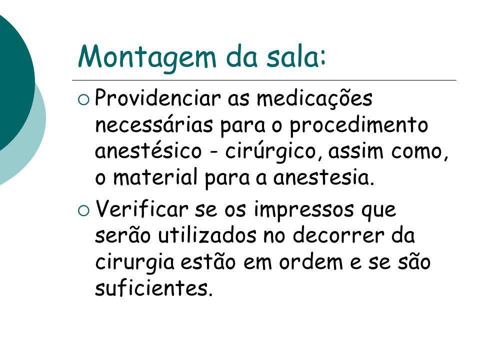 Montagem da sala: Providenciar as medicações necessárias para o procedimento anestésico - cirúrgico, assim como, o material para a anestesia. Verifica
