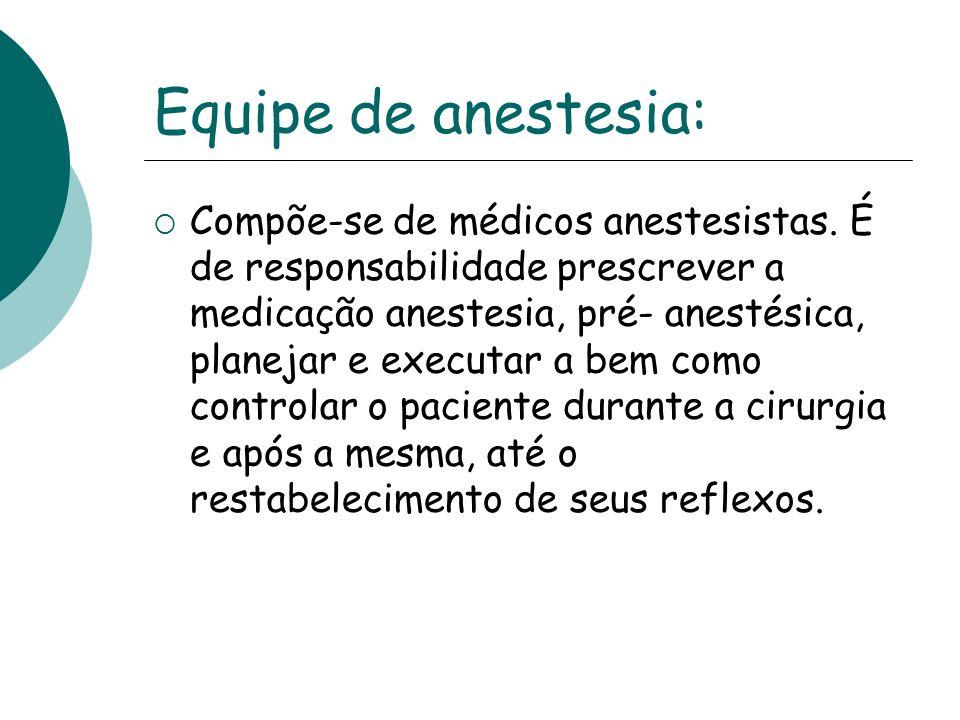 Equipe de anestesia: Compõe-se de médicos anestesistas. É de responsabilidade prescrever a medicação anestesia, pré- anestésica, planejar e executar a