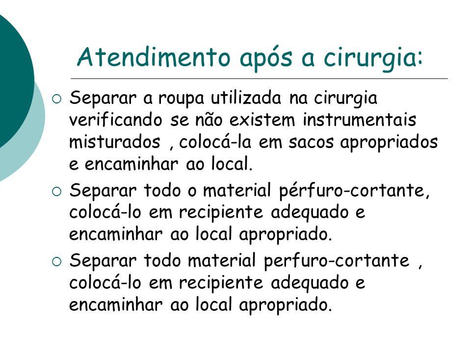 Atendimento após a cirurgia: Separar a roupa utilizada na cirurgia verificando se não existem instrumentais misturados, colocá-la em sacos apropriados