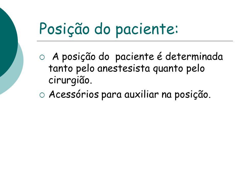 Posição do paciente: A posição do paciente é determinada tanto pelo anestesista quanto pelo cirurgião. Acessórios para auxiliar na posição.