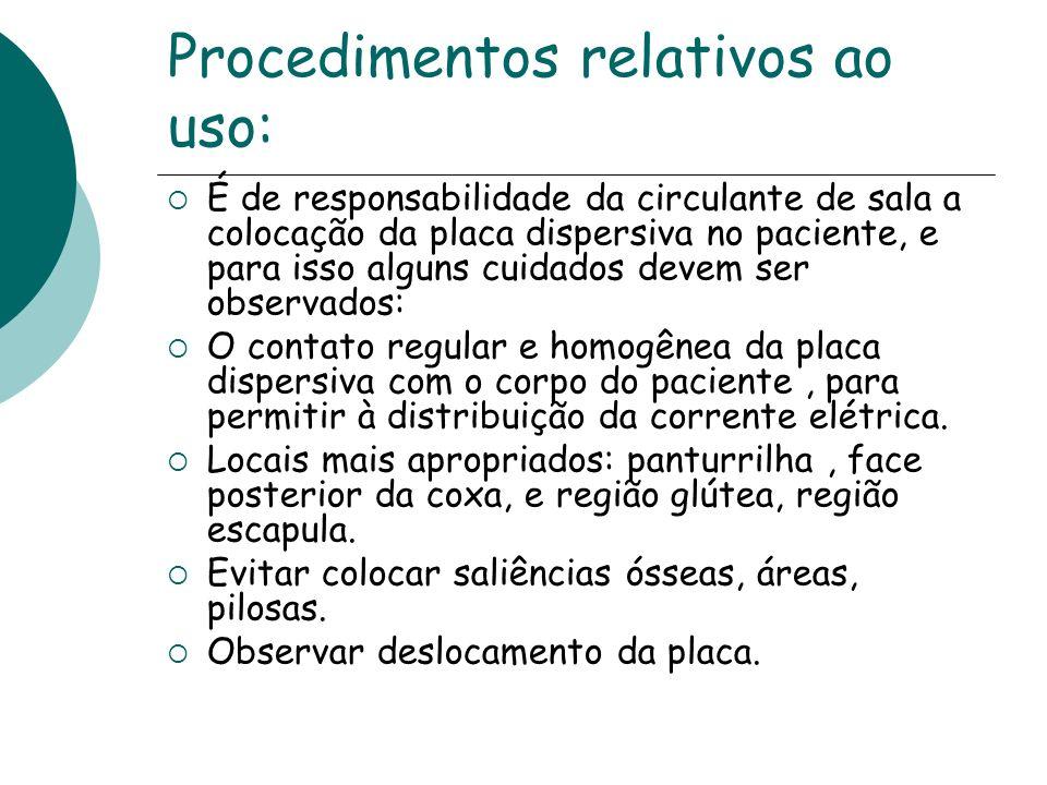 Procedimentos relativos ao uso: É de responsabilidade da circulante de sala a colocação da placa dispersiva no paciente, e para isso alguns cuidados d
