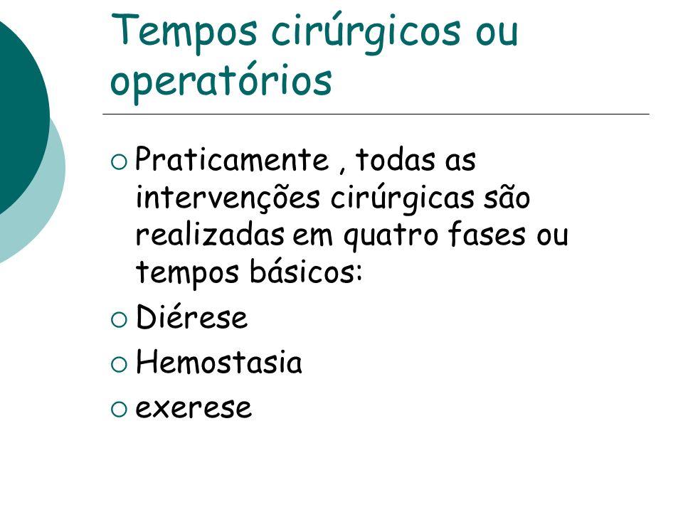 Tempos cirúrgicos ou operatórios Praticamente, todas as intervenções cirúrgicas são realizadas em quatro fases ou tempos básicos: Diérese Hemostasia e