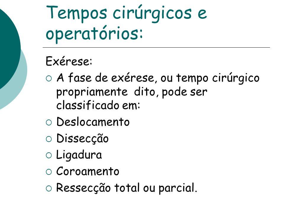 Tempos cirúrgicos e operatórios: Exérese: A fase de exérese, ou tempo cirúrgico propriamente dito, pode ser classificado em: Deslocamento Dissecção Li