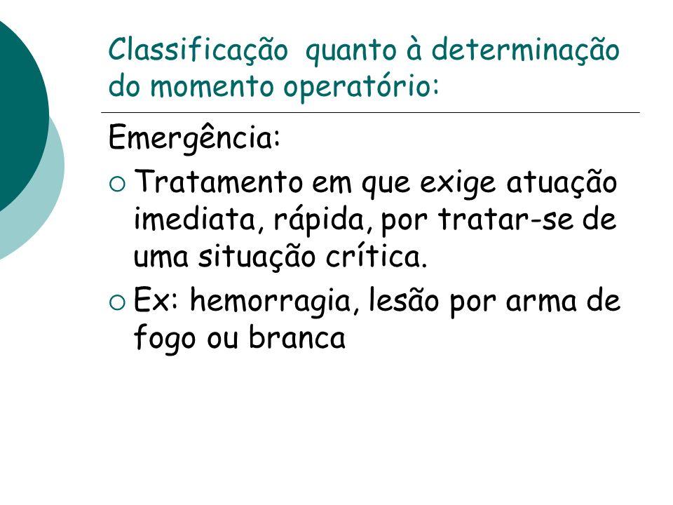Classificação quanto à determinação do momento operatório: Emergência: Tratamento em que exige atuação imediata, rápida, por tratar-se de uma situação