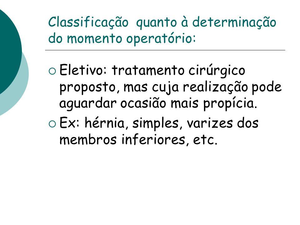 Classificação quanto à determinação do momento operatório: Eletivo: tratamento cirúrgico proposto, mas cuja realização pode aguardar ocasião mais prop