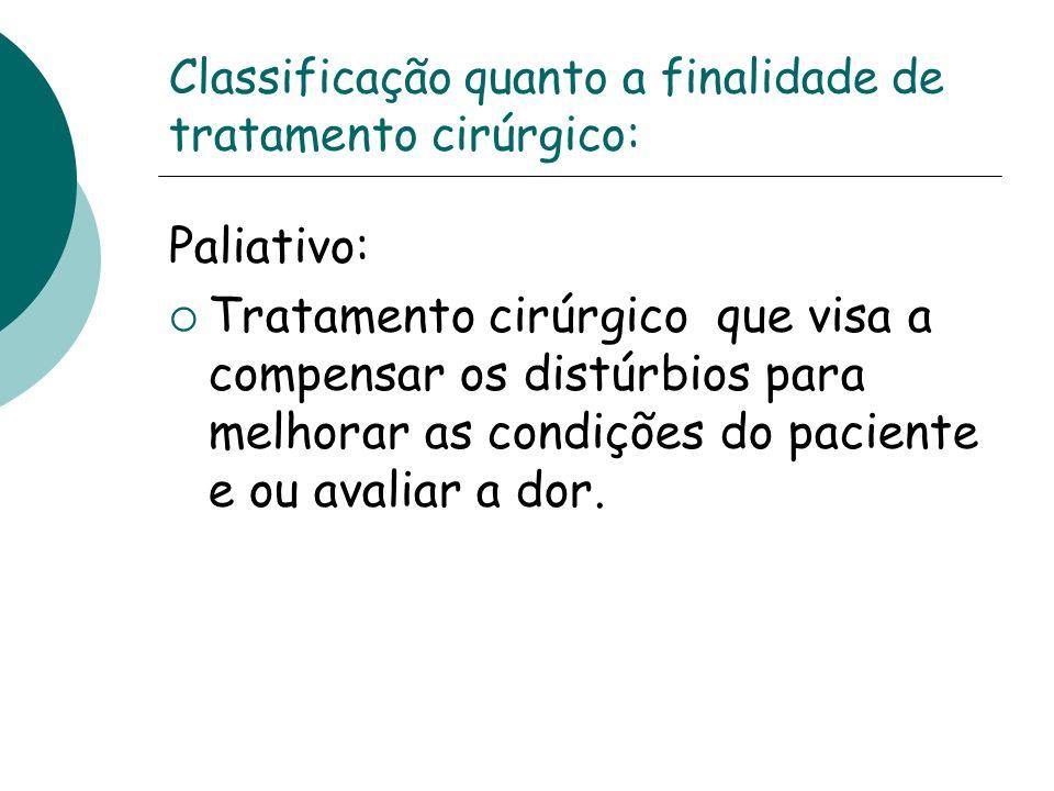 Classificação quanto a finalidade de tratamento cirúrgico: Paliativo: Tratamento cirúrgico que visa a compensar os distúrbios para melhorar as condiçõ