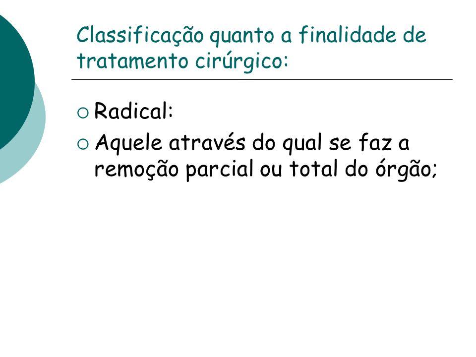 Classificação quanto a finalidade de tratamento cirúrgico: Radical: Aquele através do qual se faz a remoção parcial ou total do órgão;