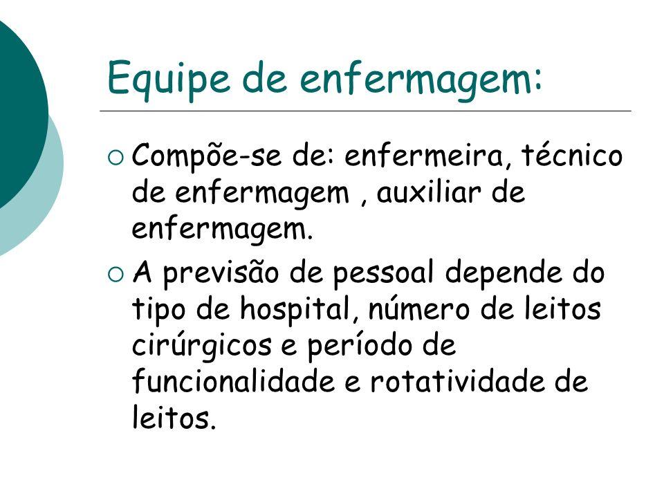 Equipe de enfermagem: Compõe-se de: enfermeira, técnico de enfermagem, auxiliar de enfermagem. A previsão de pessoal depende do tipo de hospital, núme