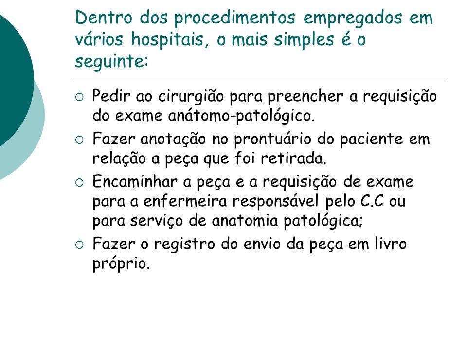 Dentro dos procedimentos empregados em vários hospitais, o mais simples é o seguinte: Pedir ao cirurgião para preencher a requisição do exame anátomo-