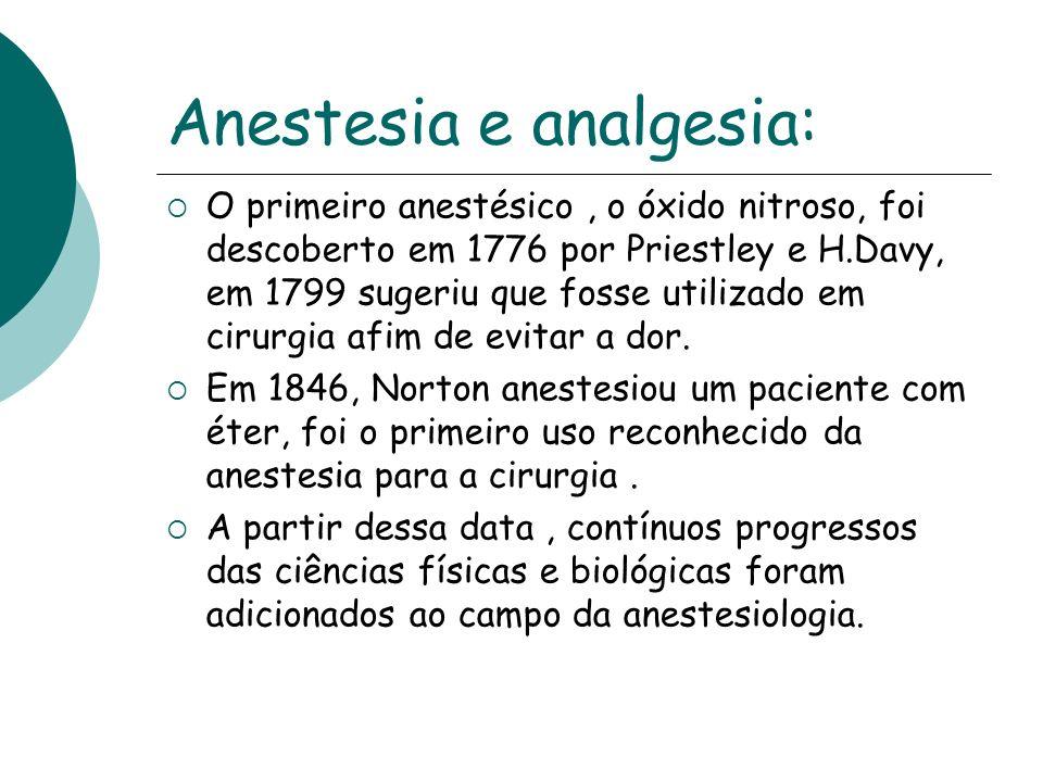 Anestesia e analgesia: O primeiro anestésico, o óxido nitroso, foi descoberto em 1776 por Priestley e H.Davy, em 1799 sugeriu que fosse utilizado em c