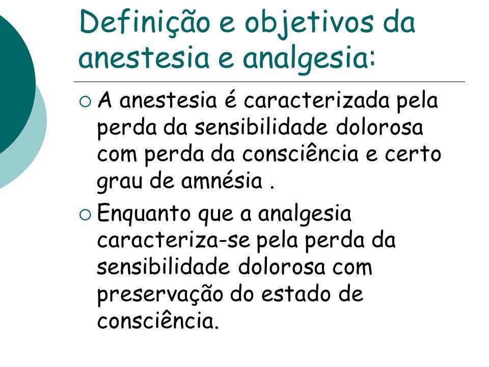 Definição e objetivos da anestesia e analgesia: A anestesia é caracterizada pela perda da sensibilidade dolorosa com perda da consciência e certo grau