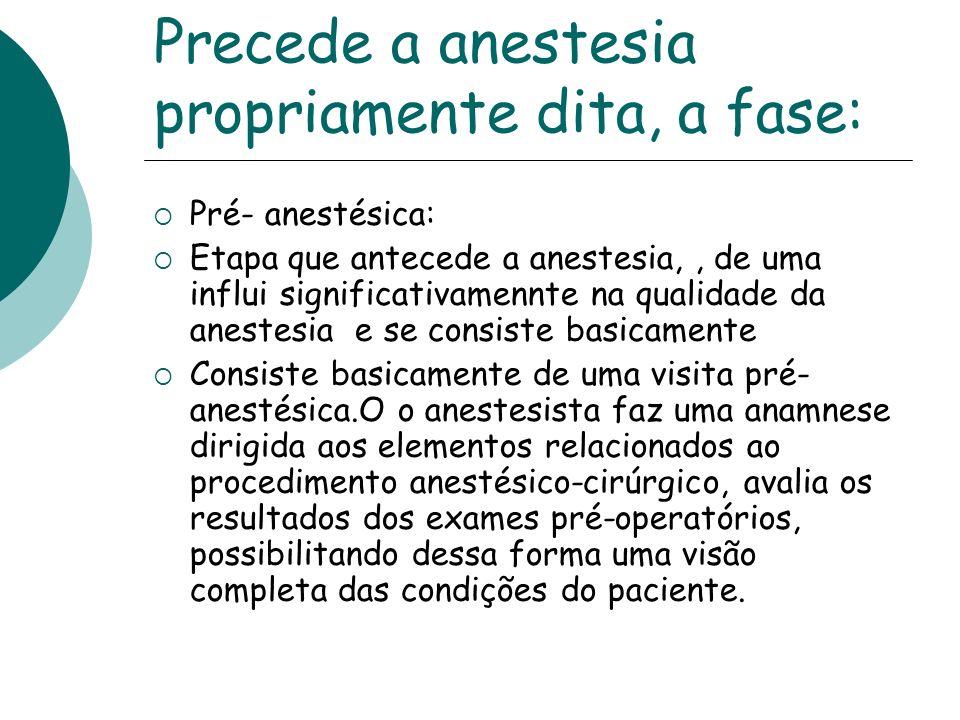 Precede a anestesia propriamente dita, a fase: Pré- anestésica: Etapa que antecede a anestesia,, de uma influi significativamennte na qualidade da ane