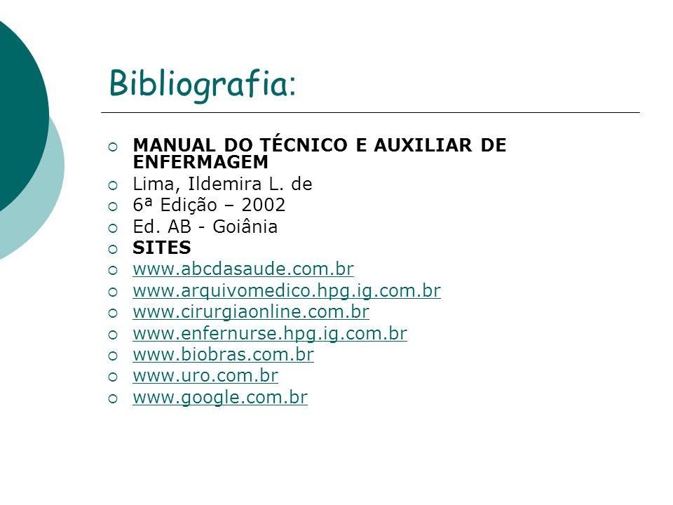 Bibliografia : MANUAL DO TÉCNICO E AUXILIAR DE ENFERMAGEM Lima, Ildemira L. de 6ª Edição – 2002 Ed. AB - Goiânia SITES www.abcdasaude.com.br www.arqui