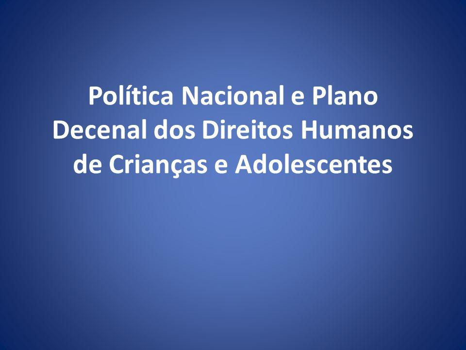 Estrutura Documento Apresentação Introdução As bases legais da Política de Promoção, Proteção e Defesa dosDireitos Humanos da Criança e do Adolescente Definição etária de criança e adolescente Análise da situação Os princípios da PNDCA Objetivo da PNDCA