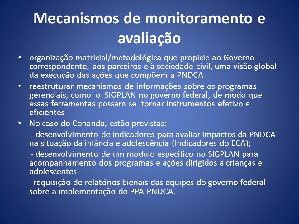 Mecanismos de monitoramento e avaliação organização matricial/metodológica que propicie ao Governo correspondente, aos parceiros e à sociedade civil,