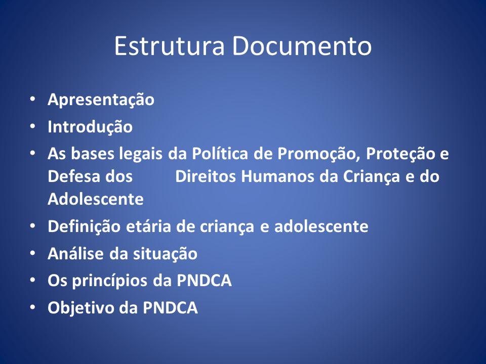 Estrutura do Documento (Cont.) Os Eixos Estruturantes da PNDCA As diretrizes da PNDCA As prioridades da PNDCA As estratégias de implementação da PNDCA O financiamento da PNDCA e do PNDDCA e a estruturação do Orçamento Criança e Adolescente Mecanismos de monitoramento e avaliação Divulgação da Política Nacional e do Plano Decenal de Promoção, Proteção e Defesa dos Direitos da Criança e do Adolescente Referências Bibliográficas Anexos