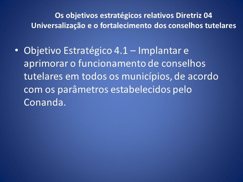 Os objetivos estratégicos relativos Diretriz 04 Universalização e o fortalecimento dos conselhos tutelares Objetivo Estratégico 4.1 – Implantar e apri