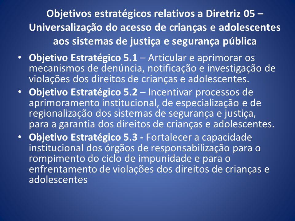 Objetivos estratégicos relativos a Diretriz 05 – Universalização do acesso de crianças e adolescentes aos sistemas de justiça e segurança pública Obje