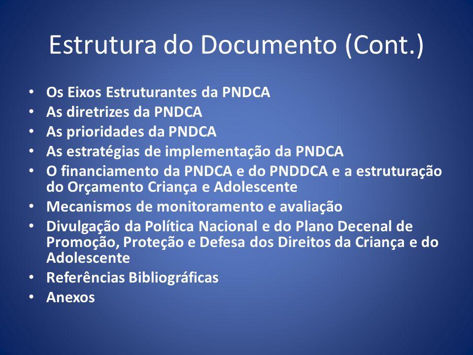 Estrutura do Documento (Cont.) Os Eixos Estruturantes da PNDCA As diretrizes da PNDCA As prioridades da PNDCA As estratégias de implementação da PNDCA