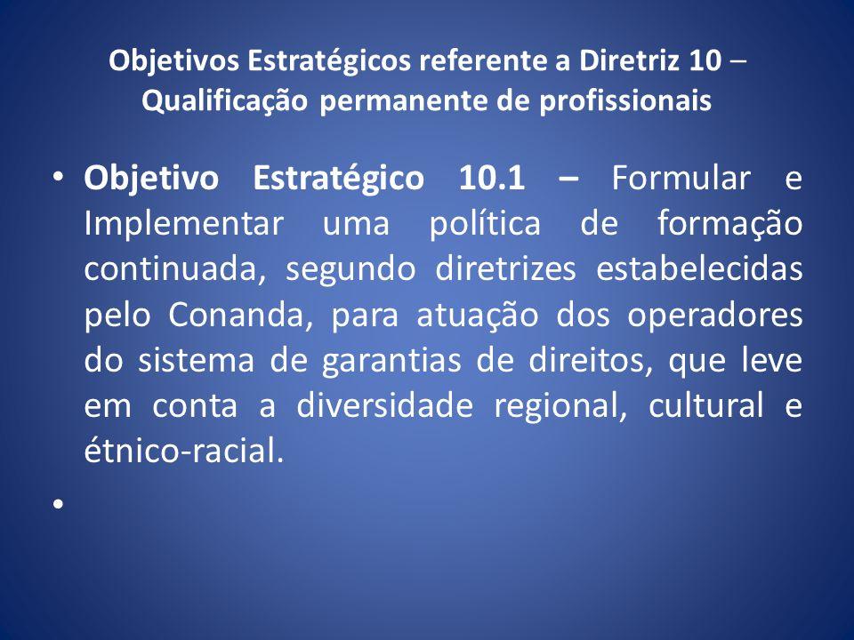 Objetivos Estratégicos referente a Diretriz 10 – Qualificação permanente de profissionais Objetivo Estratégico 10.1 – Formular e Implementar uma polít