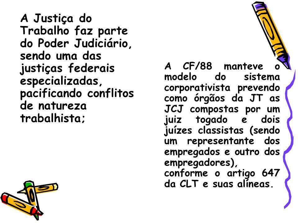 A Justiça do Trabalho faz parte do Poder Judiciário, sendo uma das justiças federais especializadas, pacificando conflitos de natureza trabalhista; A
