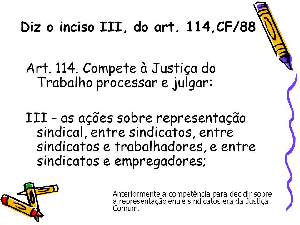 Diz o inciso III, do art. 114,CF/88 Art. 114. Compete à Justiça do Trabalho processar e julgar: III - as ações sobre representação sindical, entre sin
