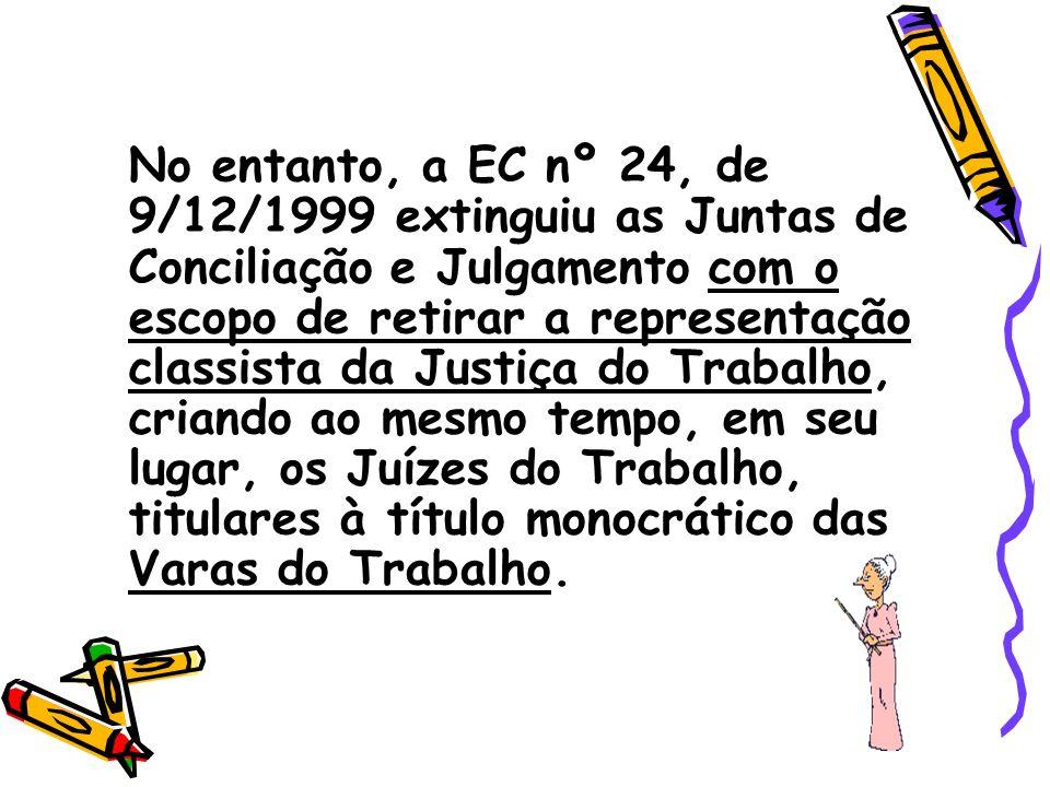 Atualmente os órgãos da Justiça do Trabalho, conforme redação do artigo 111 da CF/88, são: - O Tribunal Superior do Trabalho - Os Tribunais Regionais do Trabalho, e - Os Juízes do Trabalho.