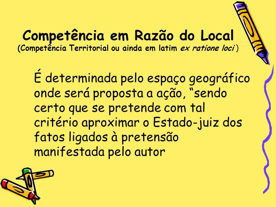 Competência em Razão do Local (Competência Territorial ou ainda em latim ex ratione loci ) É determinada pelo espaço geográfico onde será proposta a a