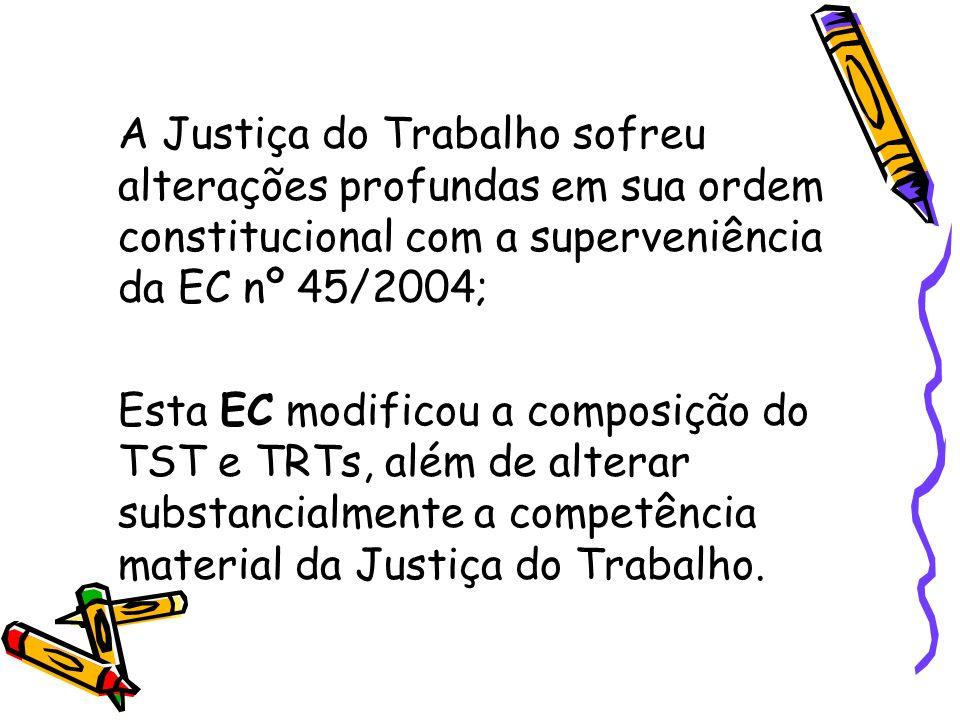 A Justiça do Trabalho sofreu alterações profundas em sua ordem constitucional com a superveniência da EC nº 45/2004; Esta EC modificou a composição do