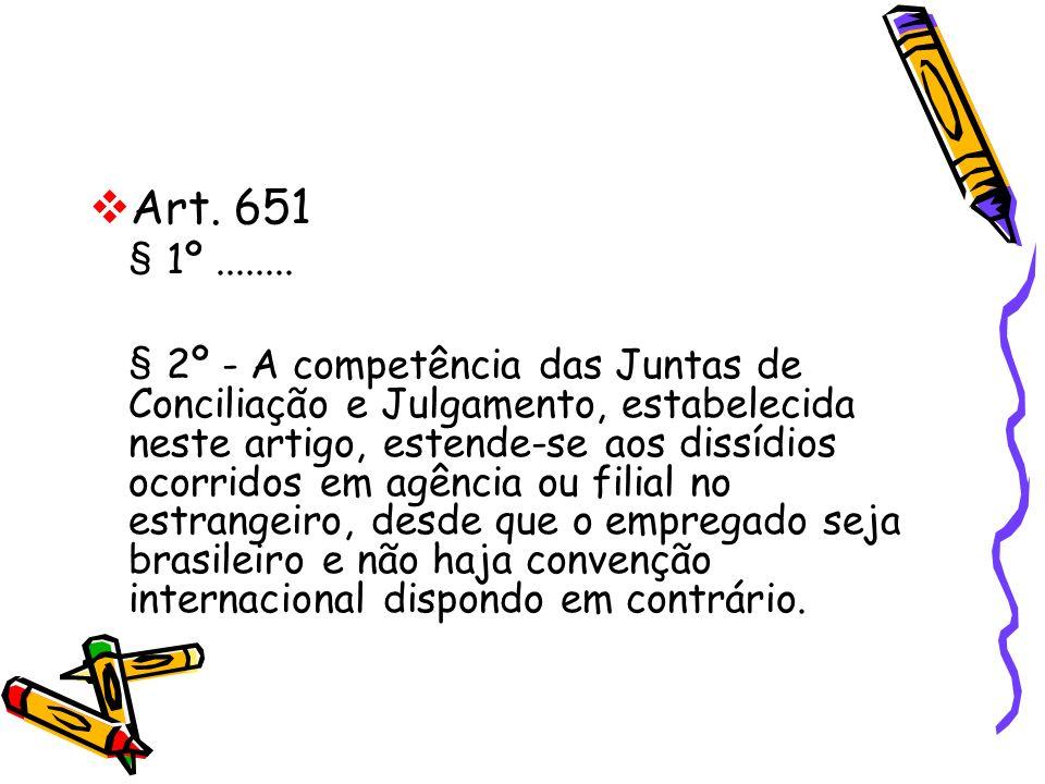 Art. 651 § 1º........ § 2º - A competência das Juntas de Conciliação e Julgamento, estabelecida neste artigo, estende-se aos dissídios ocorridos em ag
