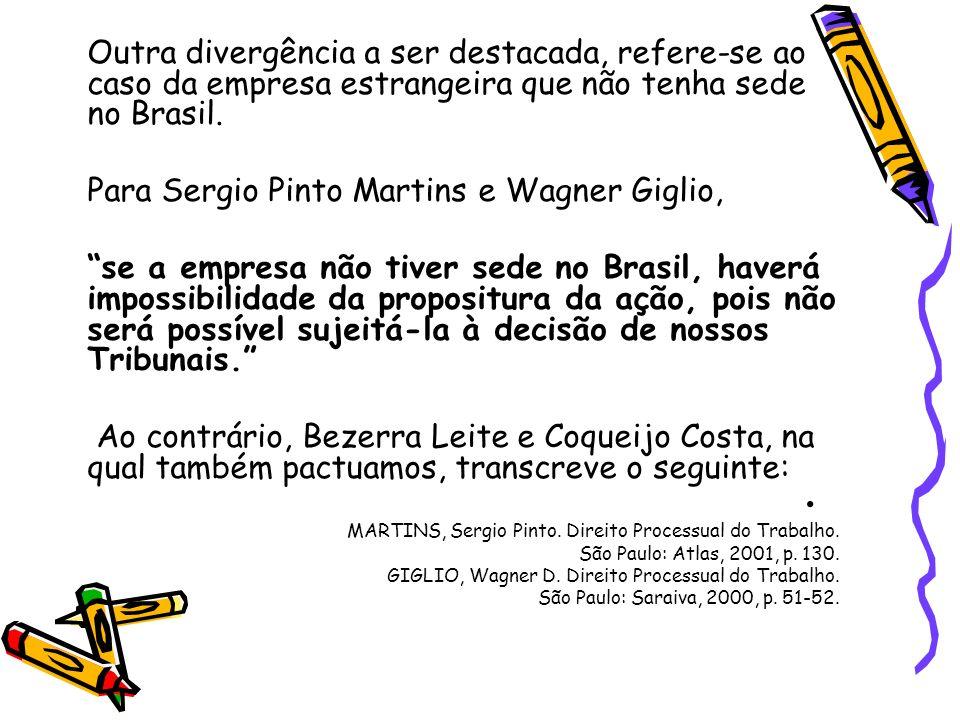 Outra divergência a ser destacada, refere-se ao caso da empresa estrangeira que não tenha sede no Brasil. Para Sergio Pinto Martins e Wagner Giglio, s