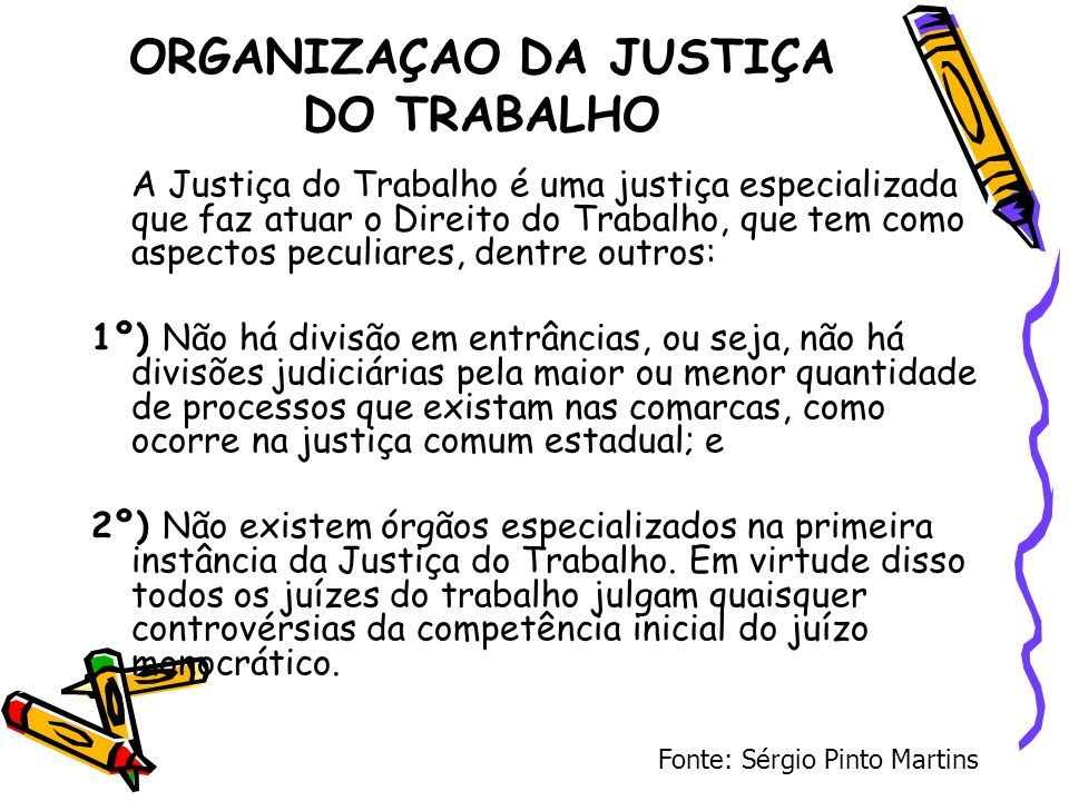 ORGANIZAÇAO DA JUSTIÇA DO TRABALHO A Justiça do Trabalho é uma justiça especializada que faz atuar o Direito do Trabalho, que tem como aspectos peculi