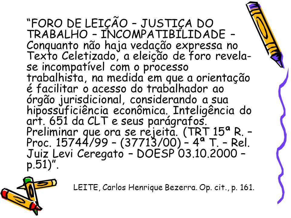 FORO DE LEIÇÃO – JUSTIÇA DO TRABALHO – INCOMPATIBILIDADE – Conquanto não haja vedação expressa no Texto Celetizado, a eleição de foro revela- se incom